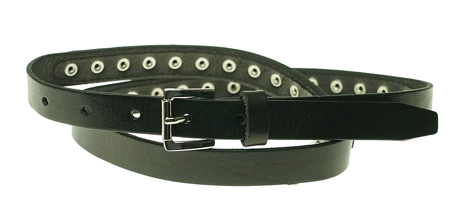 MICHAEL Micheal Kors Women's Black Studded Pebble grain Leather Belt