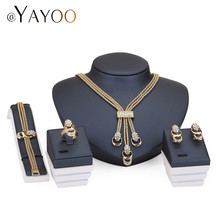 Jewelry Sets For Women Party Accessories Tassel Pendant Statement African Beads Crystal Necklace Earrings Bracelet Rings