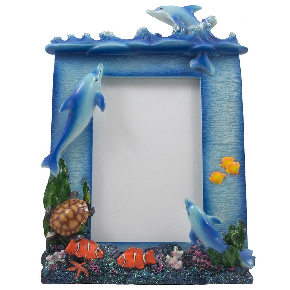 Buy Decorative Swimming Dolphins Desktop Picture Frame with Coral ... f1c863e497f3