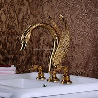 High quality 3pcs gold color animal shape swan shape 3 holes bathroom faucet set