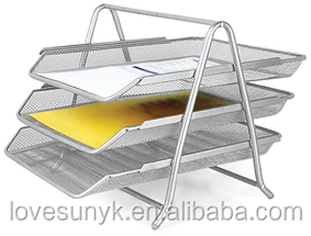 3Tier Metal Mesh A4 Document Office File Rack Desk File Tray