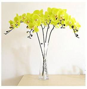 Artificial Flowers Arrangements for the Home, Pu Emulational Butterfly Orchid Artificial Flowers Living Room, Artificial Flowers Look Real (1, Yellow)