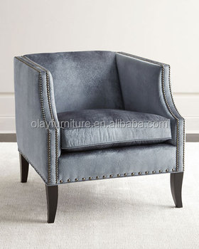 Luxury Upholstery Occasional Hotel Chair Velvet Classic Accent Single Sofa  Chair