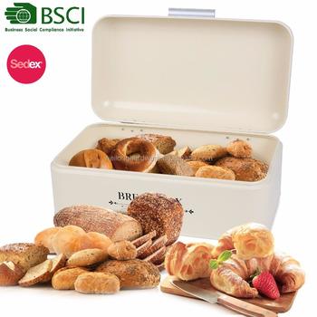 Retro Cream Bread Box Kitchen Metal Bread Bin Storage Container With