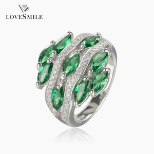 Factory wholesale green synthetic gemstones jewelry gold plated silver jewelry ring gift for girlfriend