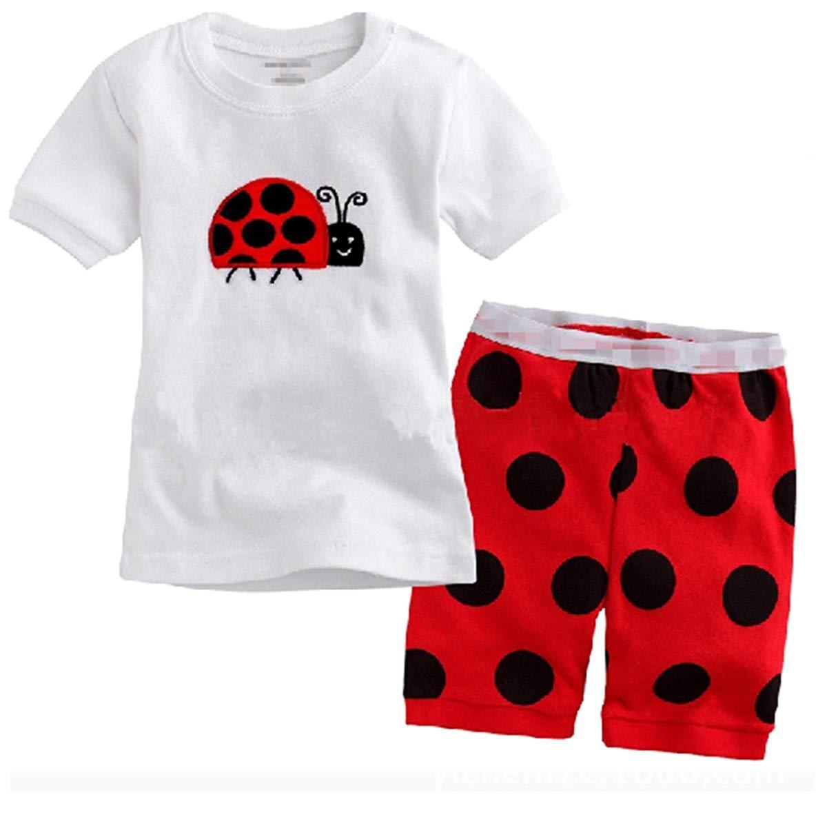 "Taiycyxgan Little Boy Girl Shorts ""Ladybug"" 2 Piece Pajama 100% Cotton(2-6T)"