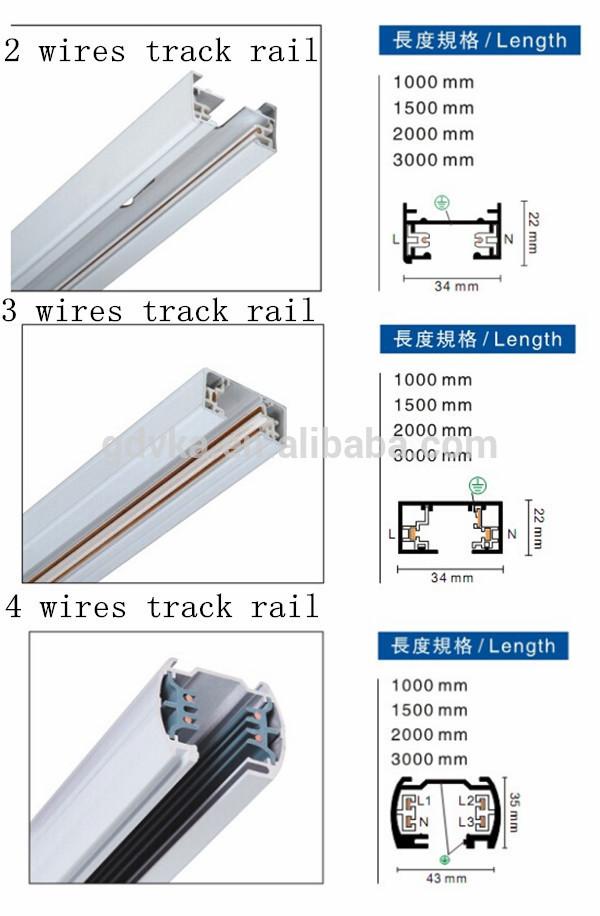 Hot Sale 3 Line Led Track Light Rail 1m 2m 3m Squre 3 Wire 2 Phase ...
