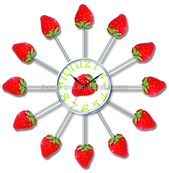 new arrival strawberry decorative wall clock fruit kitchen wall clock modern home decoration gift - Strawberry Kitchen Decoration
