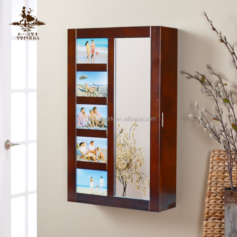 Wall Mounted Jewelry Storage Cabinet With Mirror Door