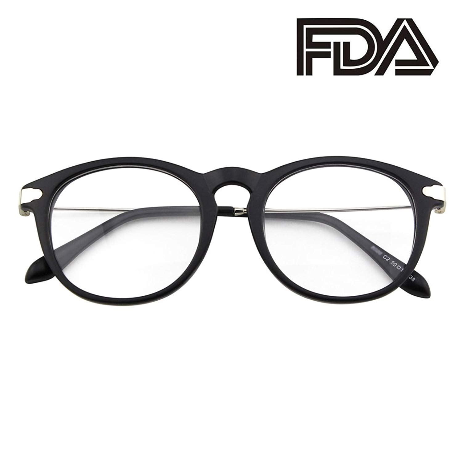 396c3a42334 Happy Store CN88 Fashion Keyhole Metal Temple Oval Horn Rimmed Clear Lens  Glasses