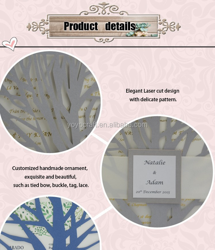 Wholesale High quality hot sale wedding invitation card greeting card printing labels service from China factory