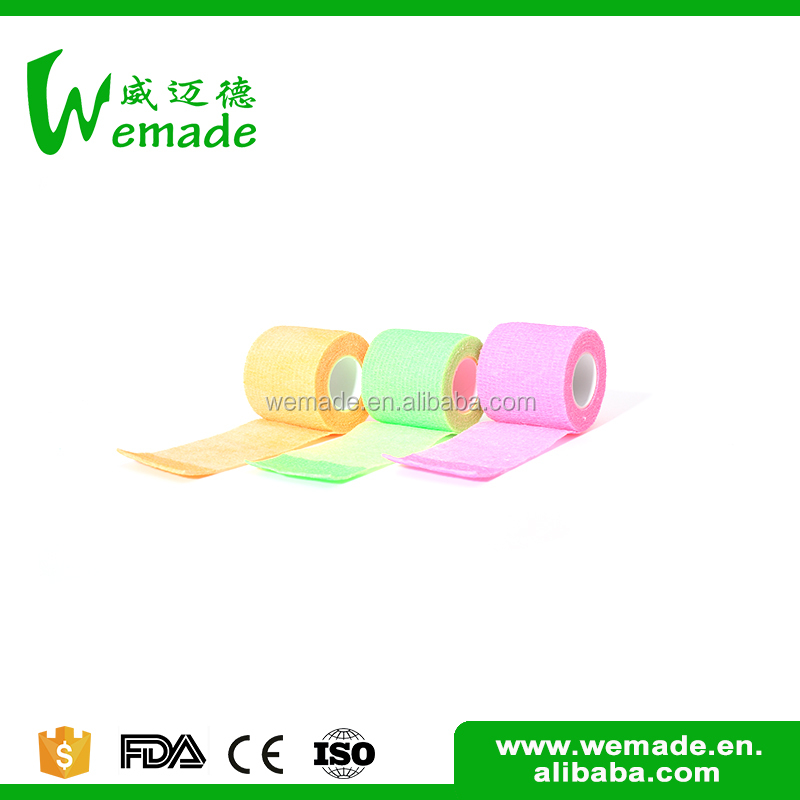 Wuxi Wemade With good sweat resistance medical colored elastic wrap cohesive bandages 5cm