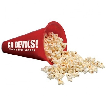 BPA free red color customized logo printed triangle megaphone shape popcorn cup movie theater spirit megaphone snack bowl