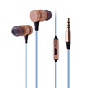good quality custom logo bamboo headphone 3.5mm wooden earbud with mic new design super bass wood earphone