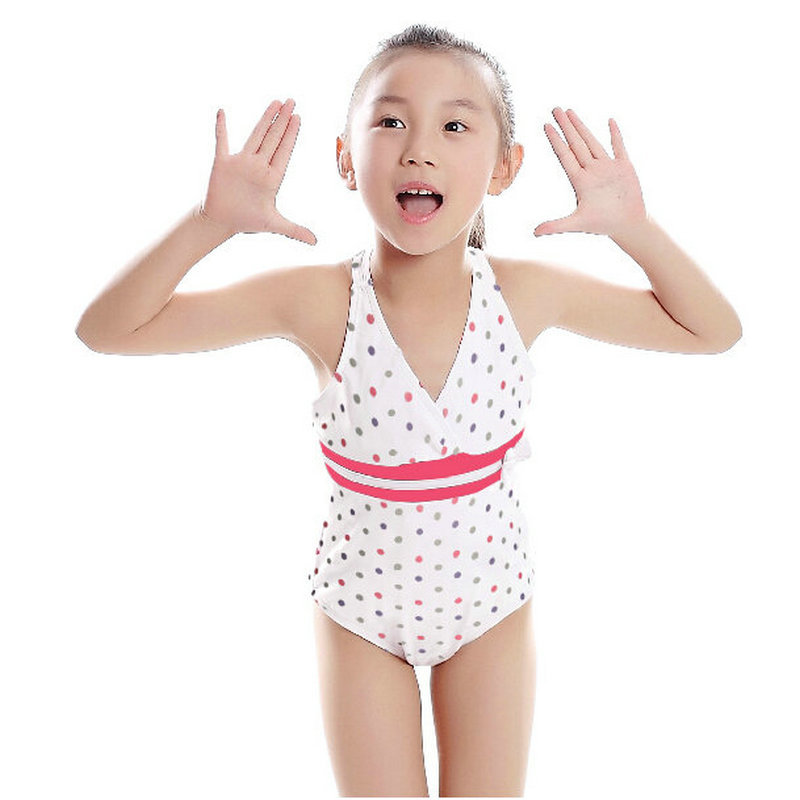 0712de1eeeb 2-10 years new cute baby girls summer bathing suits 2016 summer white dots  print one pieces swimwear for kids free shipping