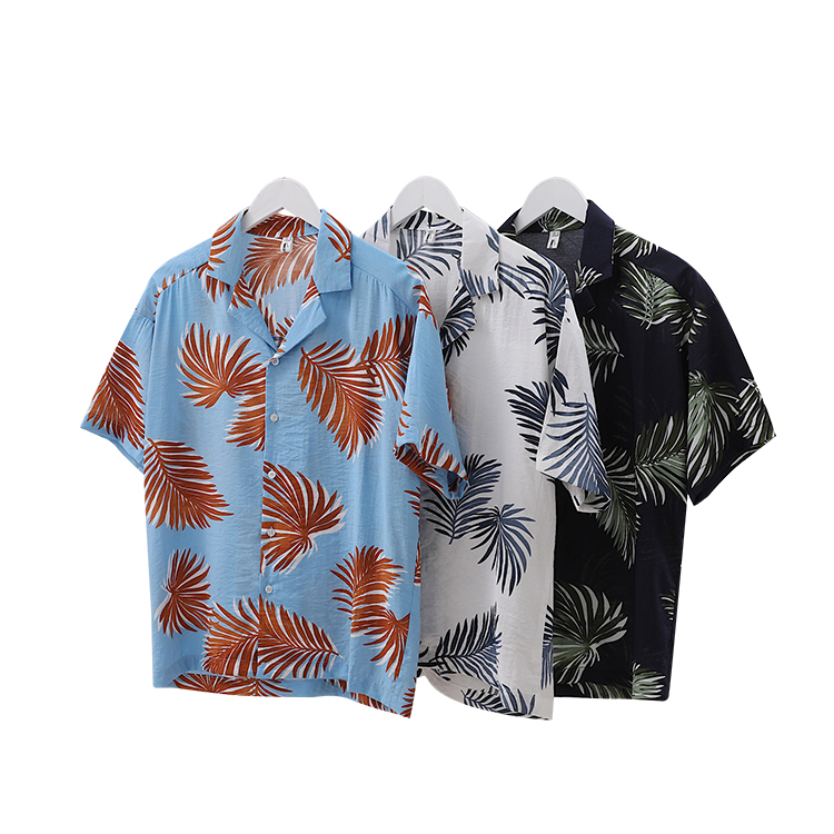 Latest design in stock popular casual floral hawaiian shirts wholesales for men