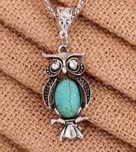 2017 Foreign Trade Hot Retro National Stone Turquoise Owls Unisex Necklace Factory Wholesale