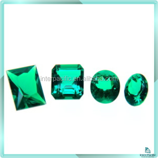 High Quality Lab created faceted Emerald