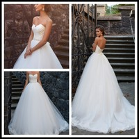 High Quality Ball Gown Sweetheart Backless Crystal Western Wedding Dresses
