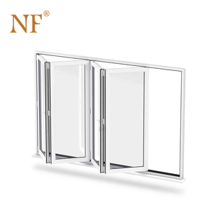 Wall fixed aluminum frame folding bifold bifolding glass door with handles
