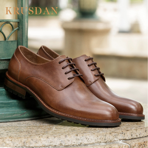 Mens brown leather boat shape dress shoes from manufacturer