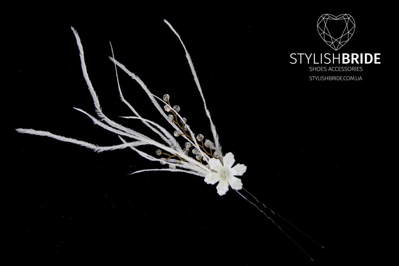 Wedding Feather Floral Hair Pins, Pearl Hair Pins, Wedding Feather Hair Accessories, Feather Hair Accessory, Crystal Pearl Hair Grips