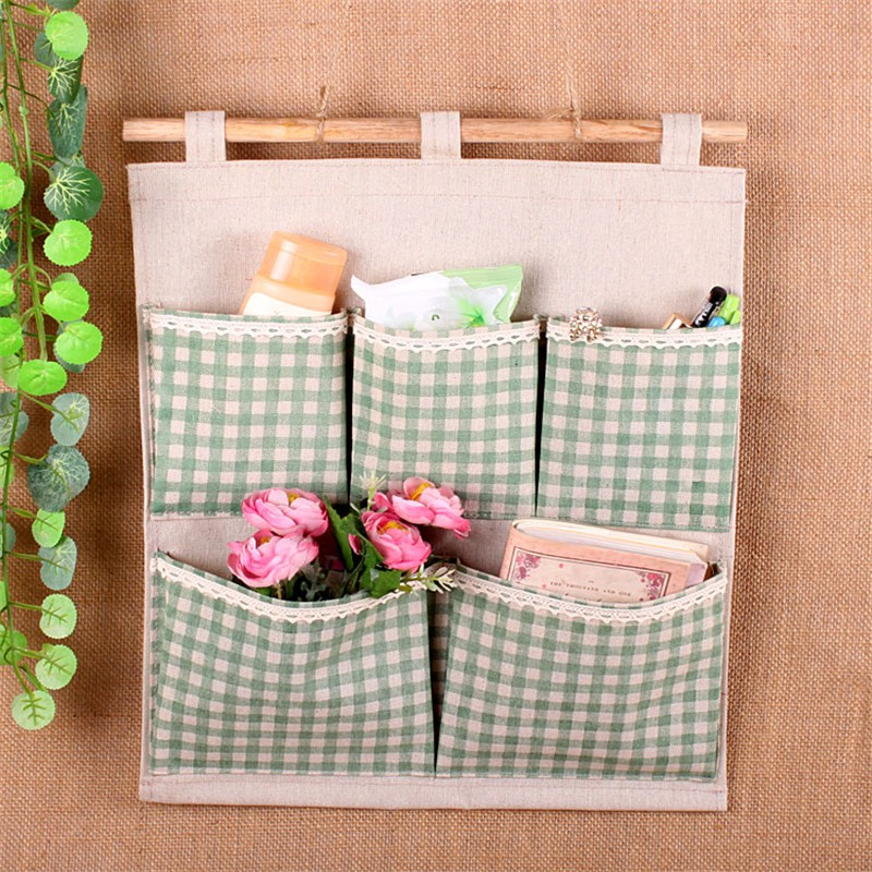 Wall Hanging Storage 1x cotton linen wall hanging storage bag organizer with 5. nursery