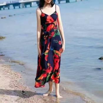 72b4e20f2471e0 Vrouwen kleding 2017 bloemenprint badmode taille strakke zomer katoen en  linnen strand slijtage Hawaii maxi boho