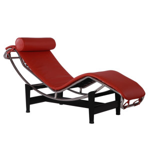 Classic High Quality LC4 Red Leather Chaise Lounge Chair