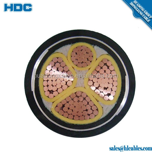 armored power cable with copper tape shielded,XLPE insulated STA/SWA 4x70mm2 4x95mmpower cable with copper or aluminum conductor