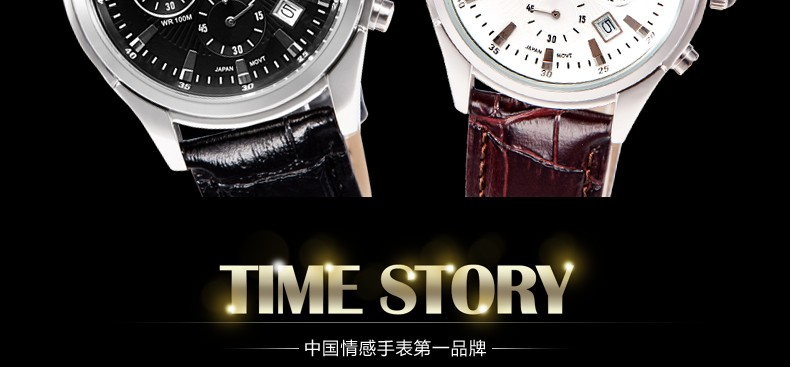 Time story wrist Double-sided leather strap watch for man with OEM service