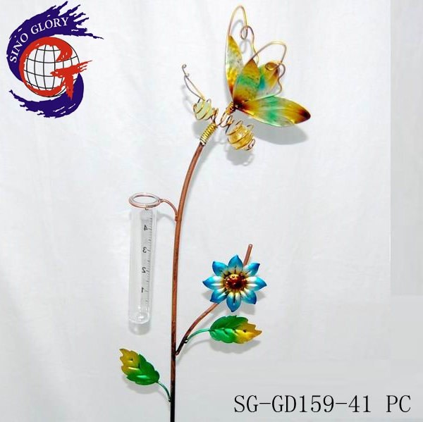 metal honey bee decorations with bee rain gauge stake