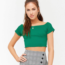 Guangdong fabrik damen gesmokt crop tops mit custom label