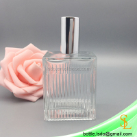 55ml square customized made clear glass empty spray pump perfume bottles wholesale with metal silver cap