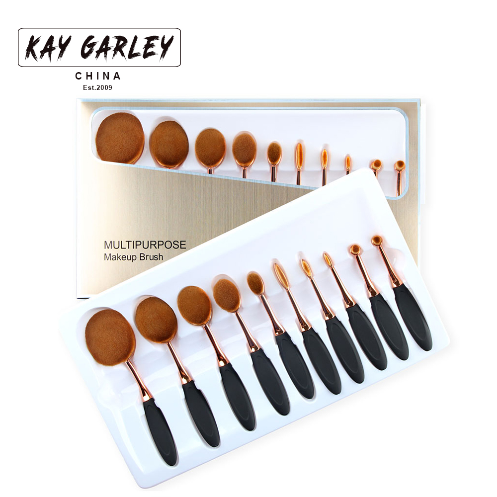 2017 top selling boutique golden case 10pcs fashion oval makeup brush set with high quality synthetic hair oval makeup brush kit
