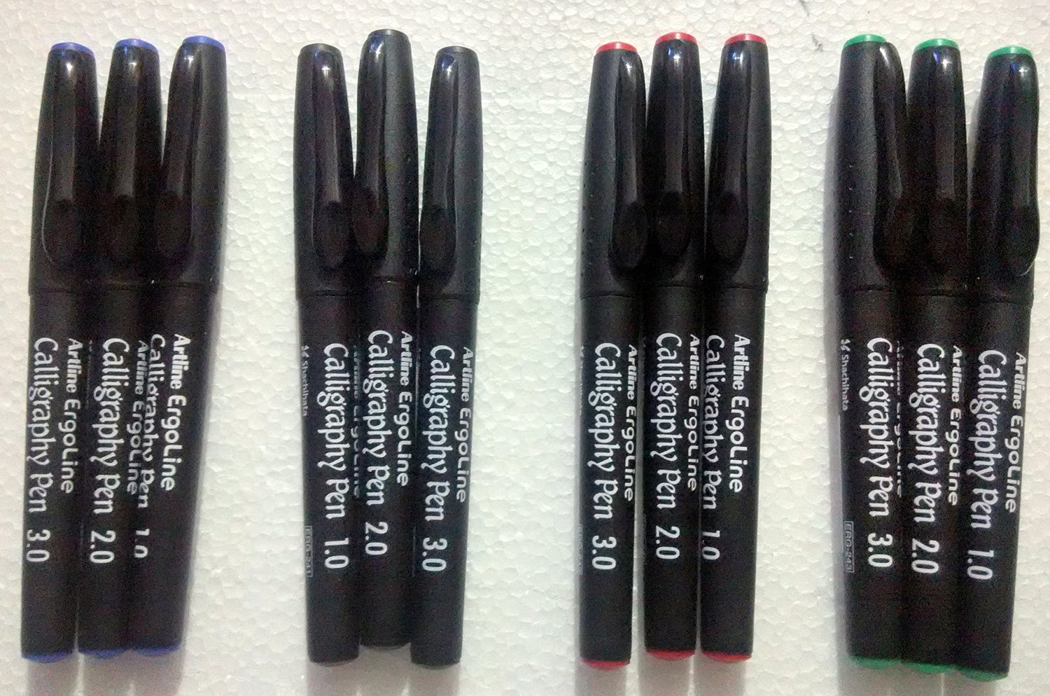 Artline Ergoline Calligraphy Fountain Pen with 1.0,2.0 & 3.0mm nibs - Blue, Black, Red and Green Ink