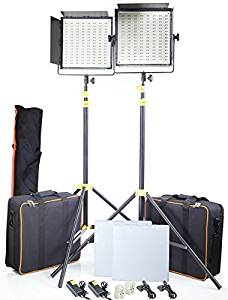 CAMTREE Professional 2pcs 1000 High-Power Bi-Color LED Light Panel Kit | Dimmable Light with Heavy Duty Light Stands for Studio Photography Wedding Filmmaking DSLR Video Cameras (C-1000-BI-2)