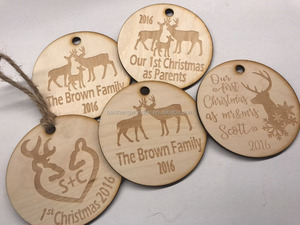 custom wooden crafts cheap plywood Christmas tree hanging ornaments