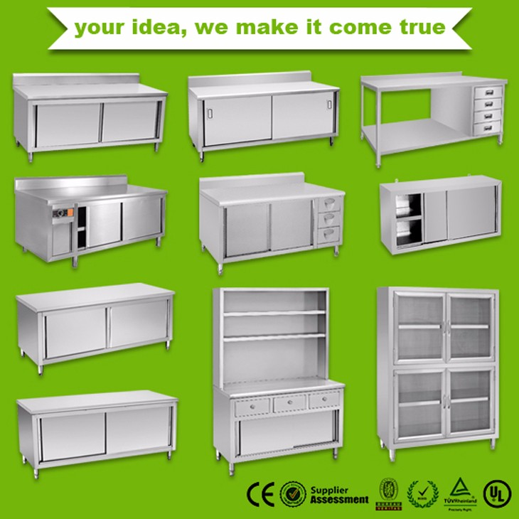 Restaurant Kitchen Stainless Steel Table Cabinet With 3 ...