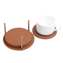 Shenzhen pu round leather cup coasters wholesale