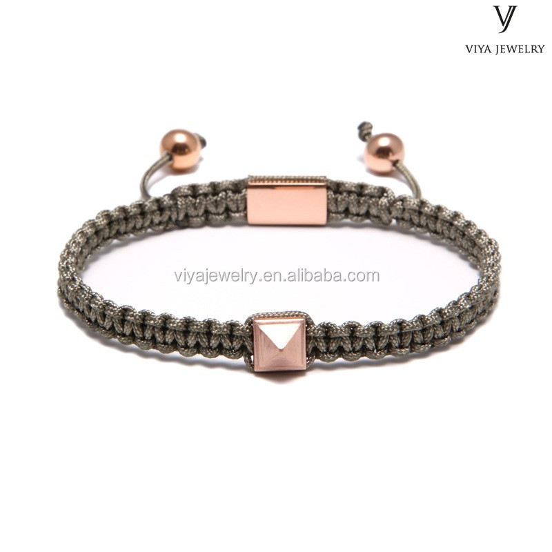 shining square pyramid Beads bracelet for men's accessories