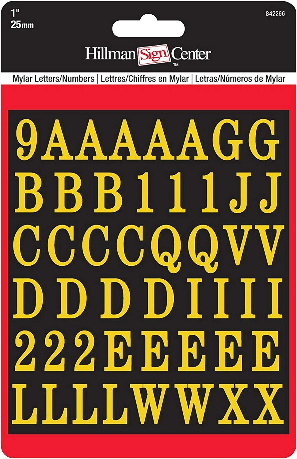 1-Inch Letters & Numbers Kit, Gold on Black, Square-Cut Mylar, Self-Adhesive (842266) - Six (6) Packs (Kits)