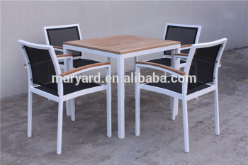 Teak Aluminum Outdoor Furniture Batyline Dining Table And Chairs - Teak and aluminium outdoor table