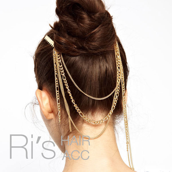 RETAIL vintage unique gold chain tassels hair combs for ...