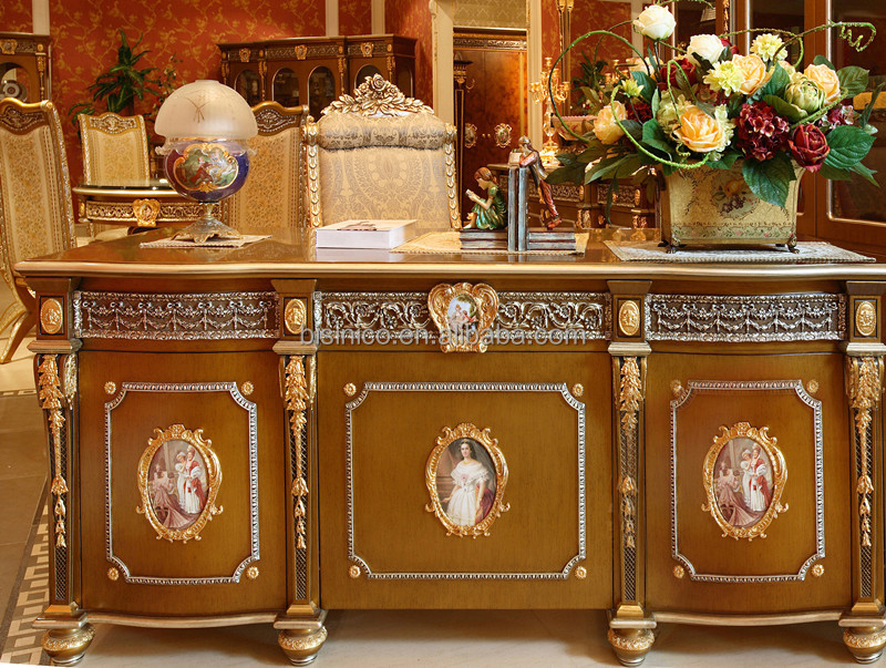 Luxury French Louis Xv Style Golden Classic Office Desk Antique