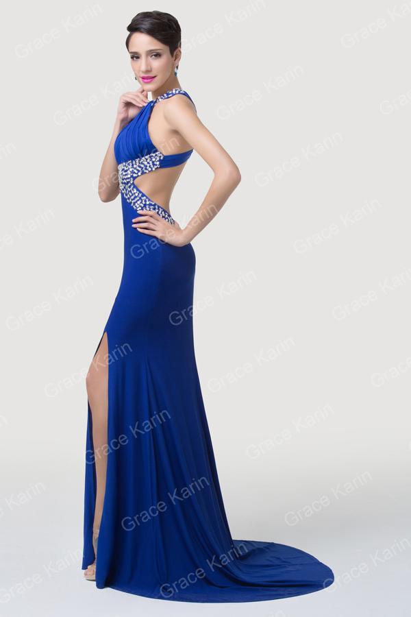 Grace Karin Long Mermaid Evening Dress Split Side Royal Blue Party ...