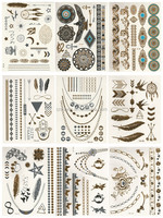 Temporary Gold & silver Jewelry Inspired tattoos face tattoo sticker
