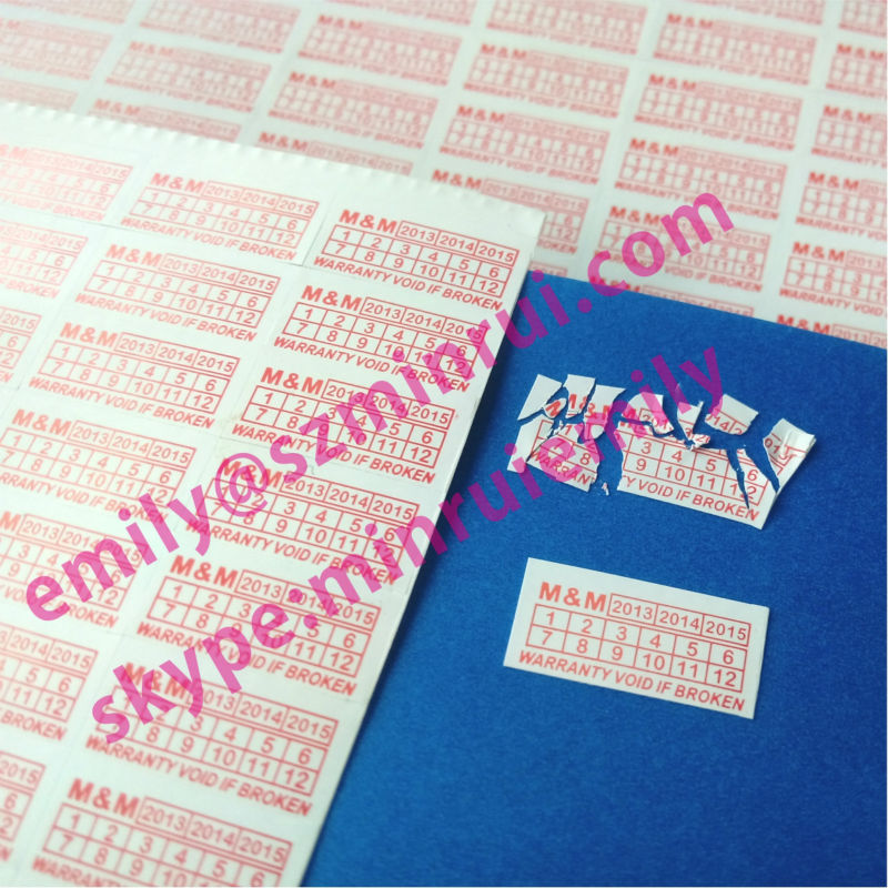 Custom fragile non removable warranty seal stickers, do not accept if seal is broken sticker