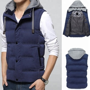 2018 Casual Quilted Blue Mens Sleeveless High Neck Vest