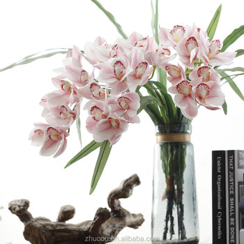 home office decoration wholesale artificial real touch cymbidium orchids plants
